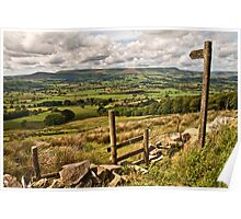 The footpath to the Lancashire landscape Poster