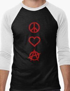 Peace. Love. Anarchy. Men's Baseball ¾ T-Shirt