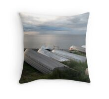 Boats at Dusk - Grassy Point Hornby Island BC Throw Pillow
