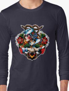 Navy Pinup Long Sleeve T-Shirt