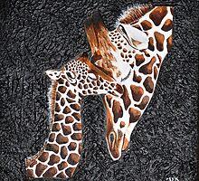 Giraffe Baby Love by ArtbyMinda