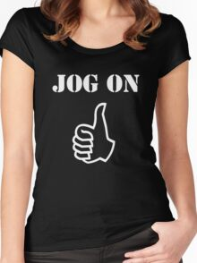 Jog On (white) Women's Fitted Scoop T-Shirt