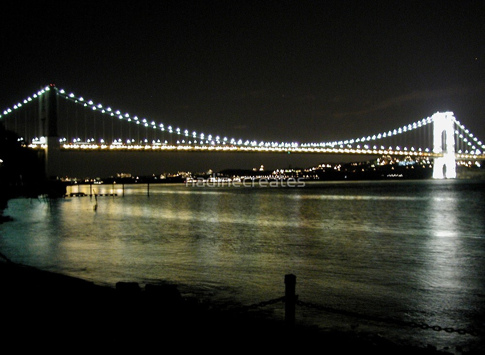 Night on the Hudson River by nadinecreates