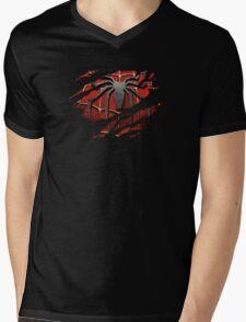Spider-Man Torn Design Mens V-Neck T-Shirt