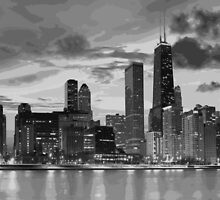 Chicago skyline in black and white by Vectorworld