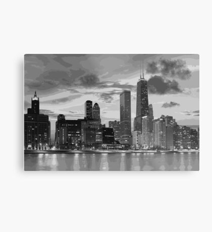 Chicago skyline in black and white Metal Print