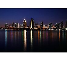 San Diego Skyline at Night Photographic Print
