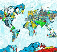 World Map landmarks 5 by BekimART