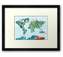 World Map landmarks 5 Framed Print