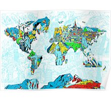 World Map landmarks 5 Poster