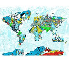 World Map landmarks 5 Photographic Print