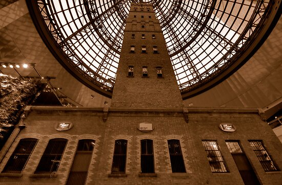 Things Are Looking Up - Coops Shot Tower Melbourne Australia (Sepia) - The HDR Experience by Philip Johnson