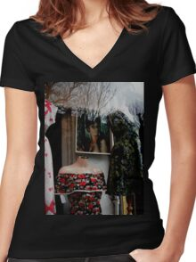50's Kitsch Women's Fitted V-Neck T-Shirt