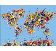 World Map brush strokes Photographic Print
