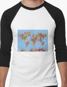 World Map brush strokes Men's Baseball ¾ T-Shirt