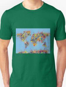 World Map brush strokes Unisex T-Shirt