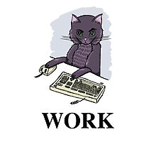 Cat at Work Photographic Print