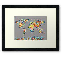 world map brush strokes 2 Framed Print