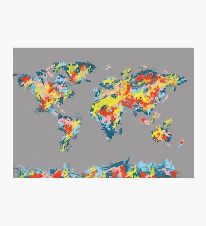 world map brush strokes 2 Photographic Print