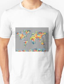 world map brush strokes 2 Unisex T-Shirt
