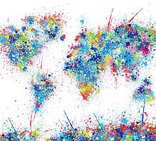 world map color splats by BekimART