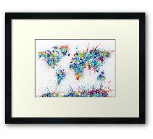 world map color splats Framed Print