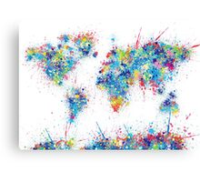 world map color splats Canvas Print