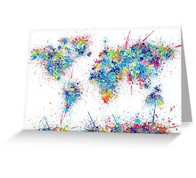 world map color splats Greeting Card