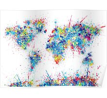 world map color splats Poster