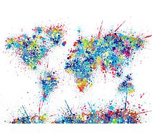 world map color splats Photographic Print