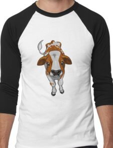 Calf Series - Brown and White Men's Baseball ¾ T-Shirt