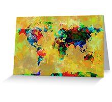 World Map watercolor 5 Greeting Card