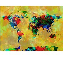 World Map watercolor 5 Photographic Print
