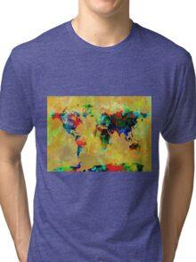World Map watercolor 5 Tri-blend T-Shirt