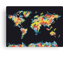 world map brush strokes 3 Canvas Print