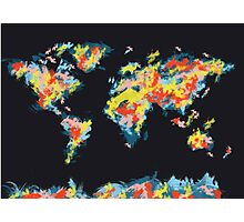 world map brush strokes 3 Photographic Print