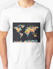 world map brush strokes 3 Unisex T-Shirt