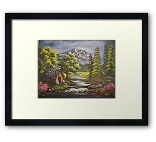 Cabin By the Stream Framed Print