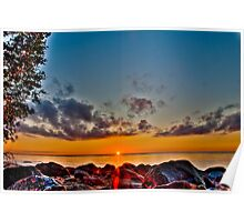 Lake Winnipeg Sunset on the rocks HDR Poster