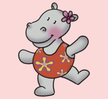 Cute hippo girl in swimsuit Kids Clothes