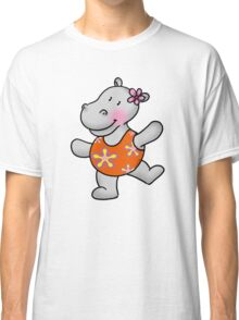 Cute hippo girl in swimsuit Classic T-Shirt