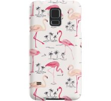 Flamingo Bird Retro Background Samsung Galaxy Case/Skin