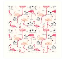 Flamingo Bird Retro Background Art Print