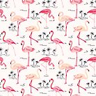 Flamingo Bird Retro Background by Anna Sivak