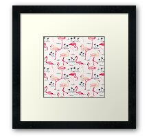 Flamingo Bird Retro Background Framed Print