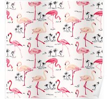 Flamingo Bird Retro Background Poster