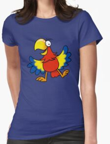 Colorful parrot bird cartoon Womens Fitted T-Shirt