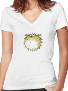 Unique puffer fish sea animal Women's Fitted V-Neck T-Shirt
