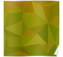 Heart Gold Green Abstract Low Polygon Background Poster