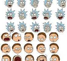 rick and morty face expressions by boostedartwork